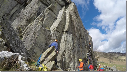 Aid climbing at the RAC Crag near Capel Curig