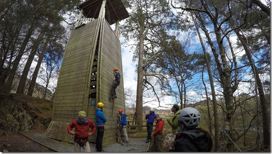 Richard Byrom jumaring up a tower using ascenders