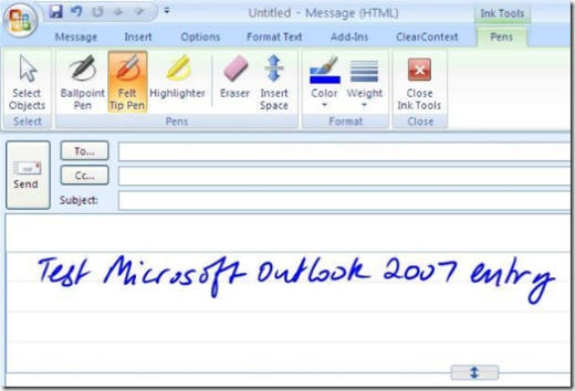 Using Outlook 2007 with the Tablet PC