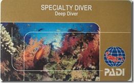 Richard Byrom's PADI Deep Diver Specialty Card