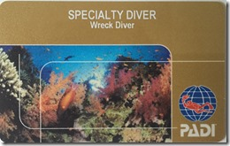 Richard Byrom's PADI Wreck Dive Specialty Card