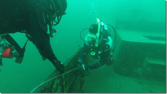 Richard Byrom undertaking his PADI Wreck Dive Specialty Stanegarth at Stoney Cove