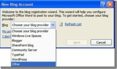Setup Steps Word 2007 Blogging - Choose your blog provider