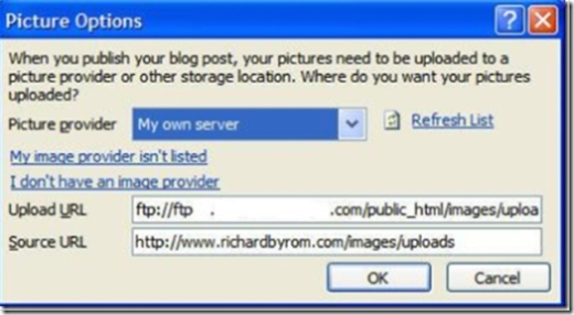 Setup Steps Word 2007 Blogging - Picture Options, source and upload URL