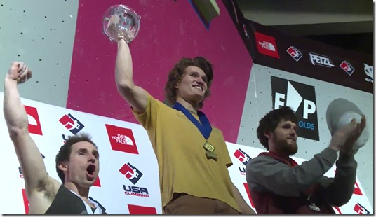 The USA Climbing: Bouldering Open Nationals 2016 Men's Podium