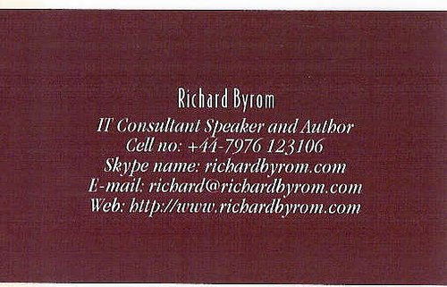 Blog Card for Richard Byrom from the back