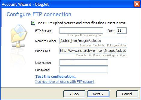 Blogjet FTP connection settings