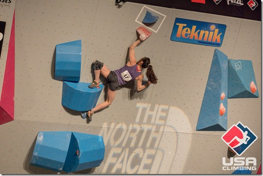 Alex Puccio in the Qualifying Round of the 2016 US National Bouldering Competition