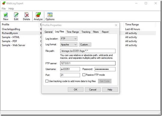 WebLog Expert ftp configuration