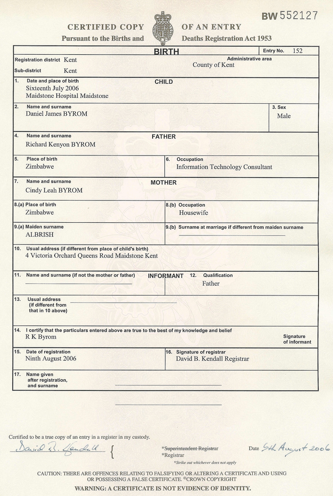 Daniel byrom s birth now registered - General register office birth certificate ...