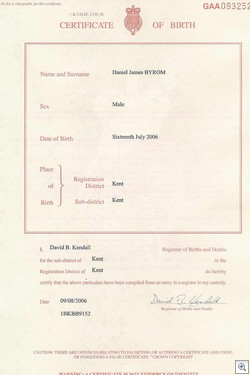 Daniel James Byrom Birth Certificate