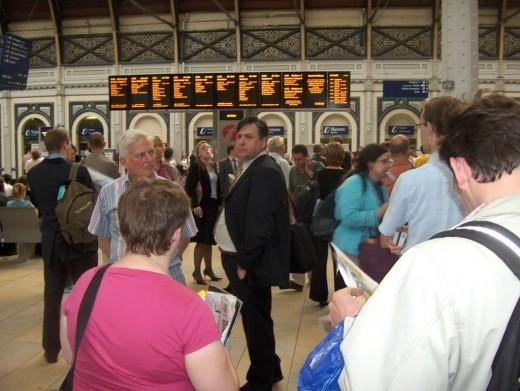 London Paddington Train Station at rush hour