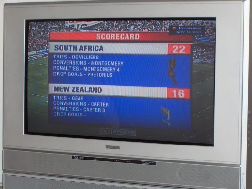 The end result of the SA vs NZ game on Sky Sports